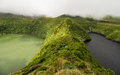 Volcano lakes on flores view two island portugal Royalty Free Stock Photos
