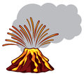Volcano powerful vector icon illustration of a erupting mountain erupting Stock Photos