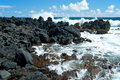 Volcano rocks on beach at Hana on Maui Hawaii Royalty Free Stock Photo
