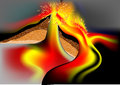 Volcano in section using mesh gradient Royalty Free Stock Image