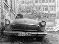 Volga m black and white image with front view of gaz car Stock Image