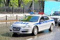 Volga siber moscow russia may russian police car at the city street Stock Photo