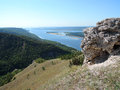 Volga to the mountains in summer sunny day view of Stock Images