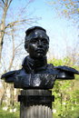 Bust of Mikhail Lermontov, opened in 1972 in the park at the intersection of Lenin Street and Lermontov Lane in Volgodonsk. Royalty Free Stock Photo