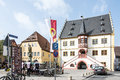 Volkach market square germany april tourists at the place of germany on april s main tourist attraction is its annual Royalty Free Stock Image