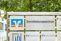Volksbank raiffeisenbank dienstleistungszentrum sign infront of the rosenheim chiemsee eg Stock Photos
