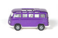 Volkswagen bus purlple toy on white Royalty Free Stock Photos
