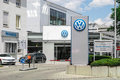 Volkswagen dealership with copy space for concepts including car manufacturers car sales car dealerships or as a whole Stock Images