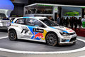 Volkswagen polo wrc pictured at the geneva motor show in switzerland Stock Image