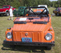 Volkswagen thing orange car front view waupaca wi august of at waupaca rod and classic show august in waupaca wisconsin Stock Photography