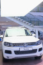 Volkswagen touareg in the lobby volkswagen center varshavka moscow jan on january moscow russia official dealer of Royalty Free Stock Photo