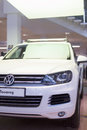 Volkswagen touareg in the lobby volkswagen center varshavka moscow jan on january moscow russia official dealer of Royalty Free Stock Image