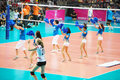 Vollayball cheer team at world grand prix preliminary round pool l week august thailand germany Stock Photo