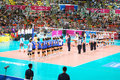 Vollayball come to cort at world grand prix preliminary round pool l week august thailand germany Royalty Free Stock Image