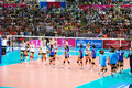 Vollayball finish the game at world grand prix preliminary round pool l week august thailand germany Stock Photo