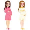 Volledige lichaams zwangere vrouw Stock Afbeeldingen