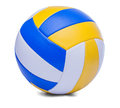 Volley ball ball isolated on a white dark blue yellow background Royalty Free Stock Image
