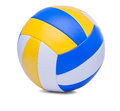 Volley ball ball isolated on a white dark blue yellow background Stock Images