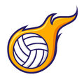 Volley Ball With Flames Icon Symbol Royalty Free Stock Photo