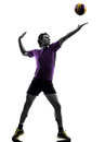 Volley ball player man silhouette white background Royalty Free Stock Photo