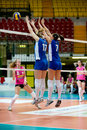 Volley milan italy april alessandra piovan and benedetta bruno saugella team jumping in saugella team monza camunnia foppapedretti Royalty Free Stock Image