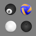 Volleyball ball, billiards ball, golf ball, bowling ball with gray background.set of sports balls. vector. illustration.