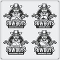 Volleyball, baseball, soccer and football logos and labels. Sport club emblems with cowboy. Royalty Free Stock Photo