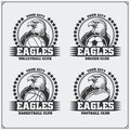 Volleyball, baseball, soccer and football logos and labels. Sport club emblems with eagle. Royalty Free Stock Photo