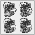 Volleyball, baseball, soccer and football logos and labels. Sport club emblems with grizzly bear. Print design for t-shirts.