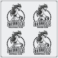 Volleyball, baseball, soccer and football logos and labels. Sport club emblems with horse. Royalty Free Stock Photo