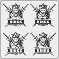 Volleyball, baseball, soccer and football logos and labels. Sport club emblems with king.