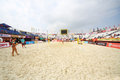 Volleyball court for tournament grand slam moscow june of beach on june in moscow russia Stock Photo
