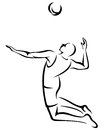Volleyball emblem vector Royalty Free Stock Image