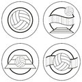 Volleyball emblems blank vector set Royalty Free Stock Photos