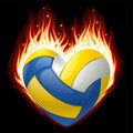 Volleyball on fire in the shape of heart Royalty Free Stock Photos