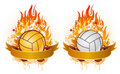 Volleyball with flames Royalty Free Stock Photos