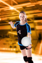 Volleyball girl female player with a ball Royalty Free Stock Images
