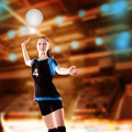 Volleyball girl female player with a ball Royalty Free Stock Image