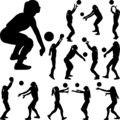 Volleyball girl player. women group play volleyball silhouette vector Royalty Free Stock Photo