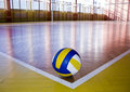 Volleyball in school gym indoor. Royalty Free Stock Photo