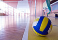 Volleyball in a gym. Stock Photos
