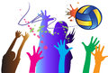 Volleyball hit a graphic image on a graphic stripes women athletes decorated with colorful color paintbrush and converted Stock Photos