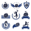 Volleyball labels and icons set vector Stock Photos
