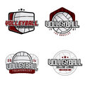 Volleyball logos set of college league championship tournament club badges labels icons and design elements themed t shirt Royalty Free Stock Photos