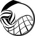 Volleyball medal design illustration of a swooping over a net inside a Royalty Free Stock Photo