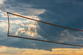 Volleyball net during sunset a the late evening Royalty Free Stock Images