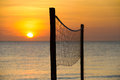 Volleyball net at sunset Royalty Free Stock Photo