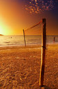 Volleyball net on the tropical beach Stock Images
