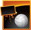 Volleyball on orange and black halftone banner Royalty Free Stock Image