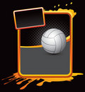 Volleyball on orange splattered advertisement Stock Image